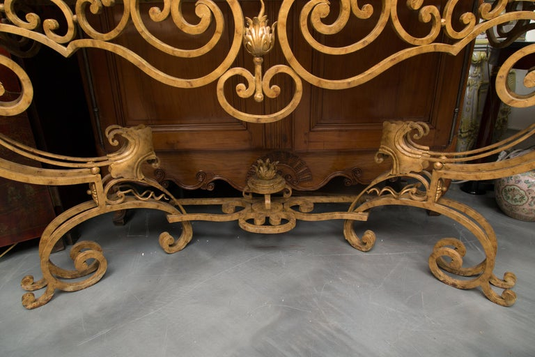 Serpentine Iron Console with Marble Top For Sale 5
