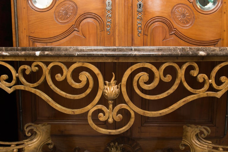 Serpentine Iron Console with Marble Top For Sale 6