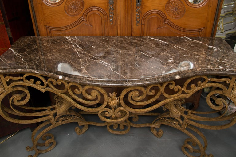 Serpentine Iron Console with Marble Top For Sale 7