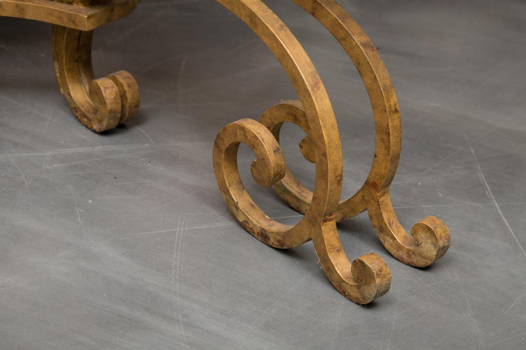 Unknown Serpentine Iron Console with Marble Top For Sale