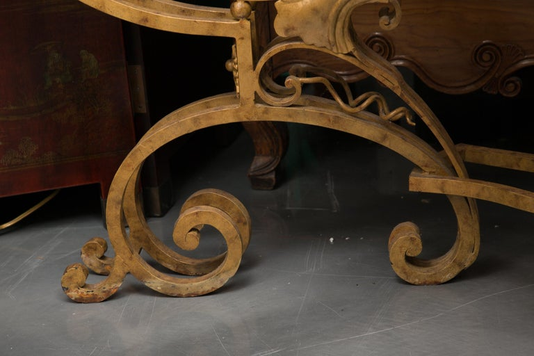 Hand-Painted Serpentine Iron Console with Marble Top For Sale