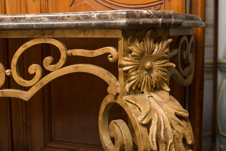 Serpentine Iron Console with Marble Top For Sale 2