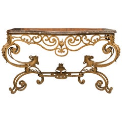 Serpentine Iron Console with Marble Top