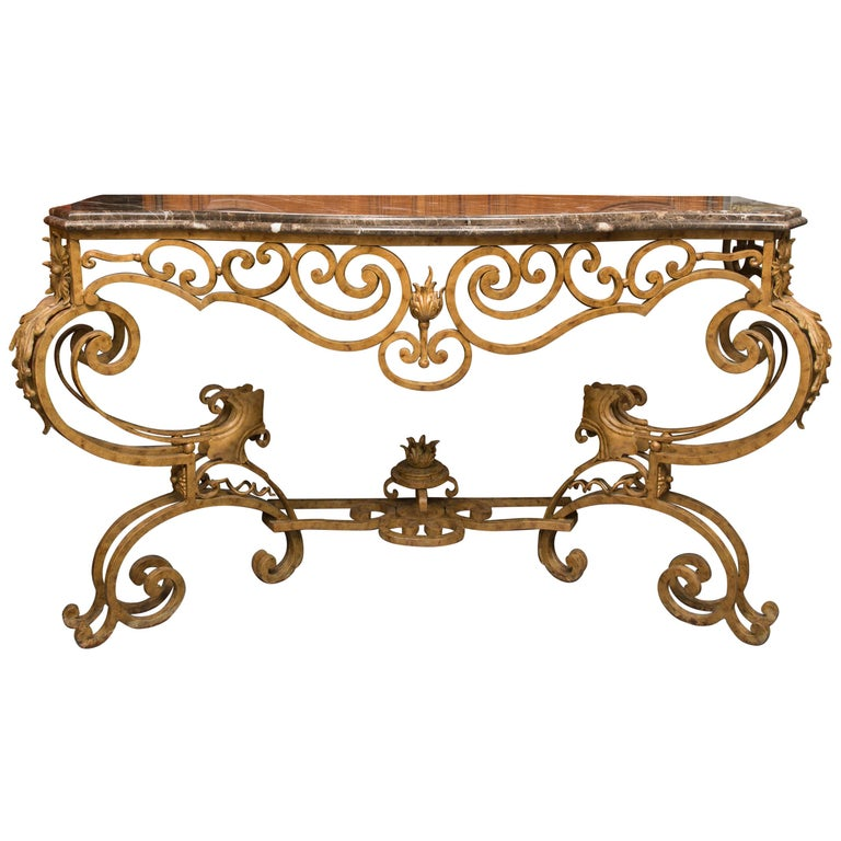 Serpentine Iron Console with Marble Top For Sale