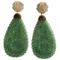 Serpentine Mother of Pearl 18 Karat Gold Long Drop Earrings