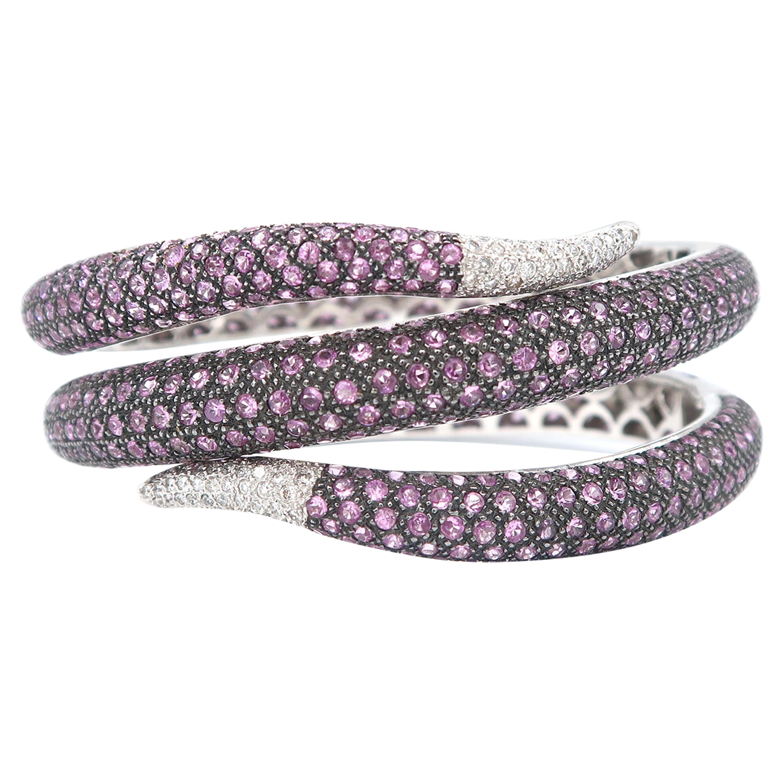 Serpentine Pink Sapphire and Diamond Pavé 18 Karat White Gold Hinged Cuff Bangle