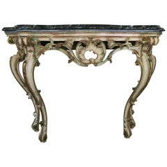 Serpentine Shaped Painted and Parcel-Gilt Console with Marble Top, circa 1930