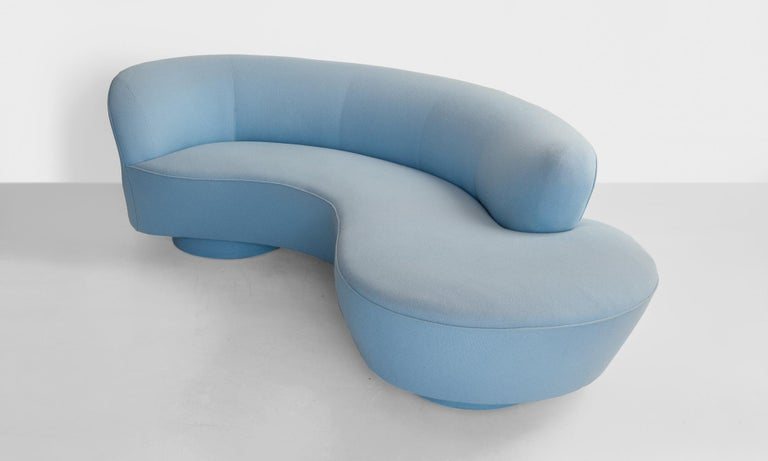 Iconic serpentine sofa designed by Vladimir Kagan. Reupholstered in wool fabric by Maharam.