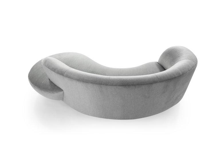 Brass Serpentine Sofa by Vladimir Kagan in Grey Royal Alpaca