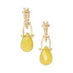 Serpentine Teardrop Oblio Earrings in 18 Karat Gold