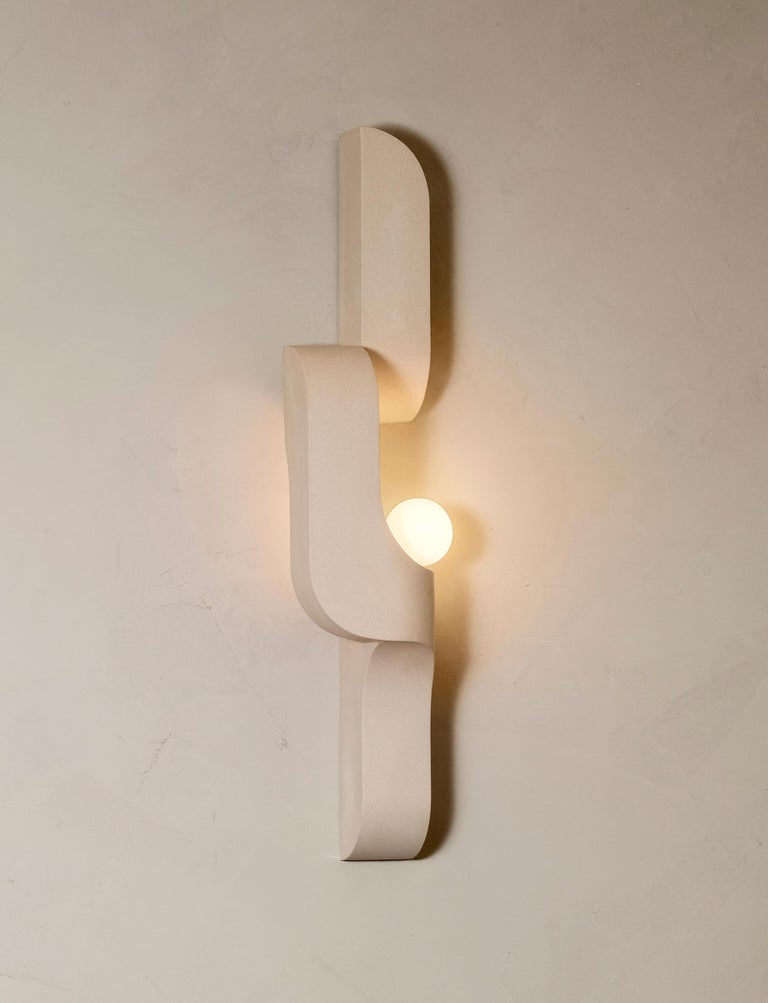 Modern Serpentine Vertical Ceramic Wall Sconce by Farrah Sit For Sale