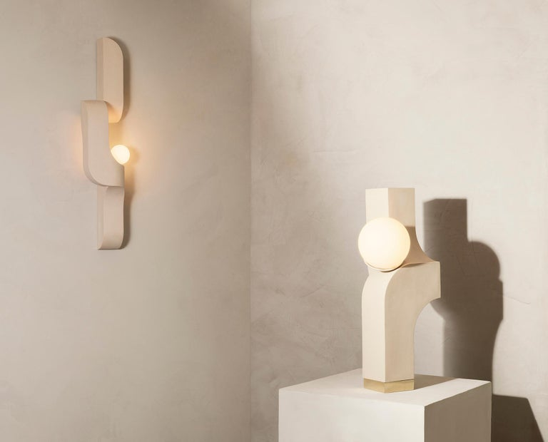 American Serpentine Vertical Ceramic Wall Sconce by Farrah Sit For Sale