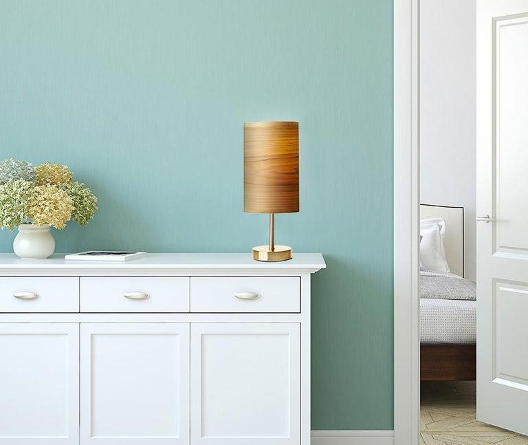 SERRET Brushed Brass Table Lamp and Custom Poplar Wood Shade 2
