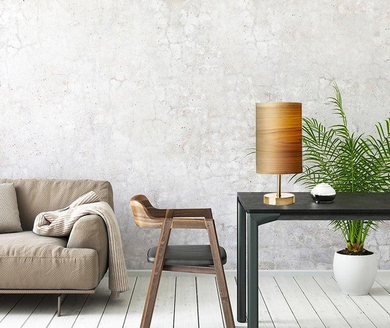 SERRET Brushed Brass Table Lamp and Custom Poplar Wood Shade 4