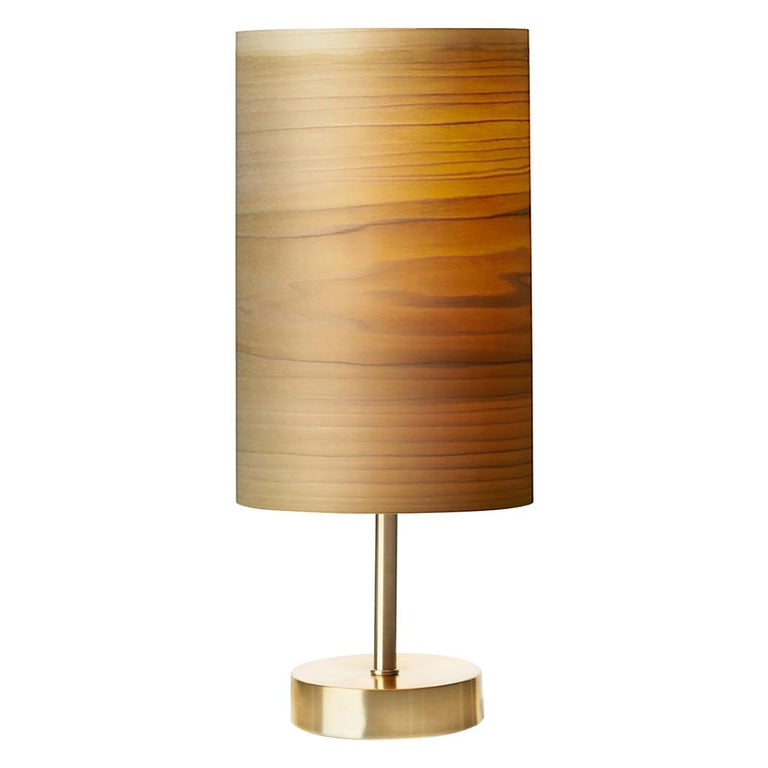 SERRET Brushed Brass Table Lamp and Custom Poplar Wood Shade For Sale