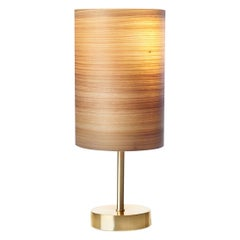 Serret Brushed Brass Table Lamp with Cypress Wood Shade