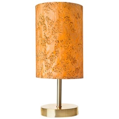 SERRET Brushed Brass Table Lamp with Karelian Burl Wood Shade