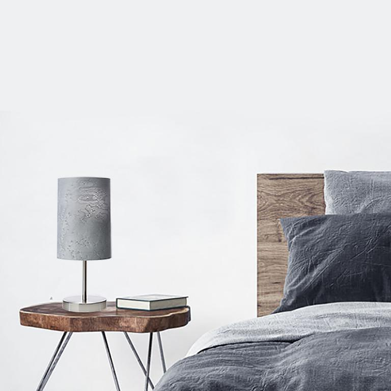 SERRET Brushed Nickle Table Lamp with Gray Bird's Eye Maple Wood Shade 4
