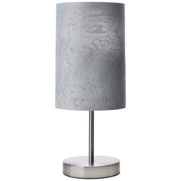 SERRET Brushed Nickle Table Lamp with Gray Bird's Eye Maple Wood Shade For Sale