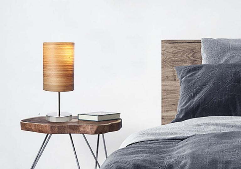 American SERRET Brushed Satin Nickle Table Lamp with Cypress Wood Shade For Sale