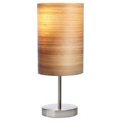SERRET Brushed Satin Nickle Table Lamp with Cypress Wood Shade