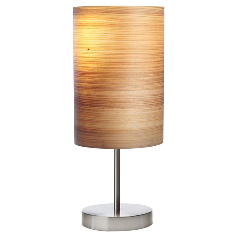 SERRET Brushed Satin Nickle Table Lamp with Cypress Wood Shade For Sale