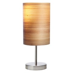 Serret Brushed Stain Nickel Table Lamp with Cypress Wood Shade
