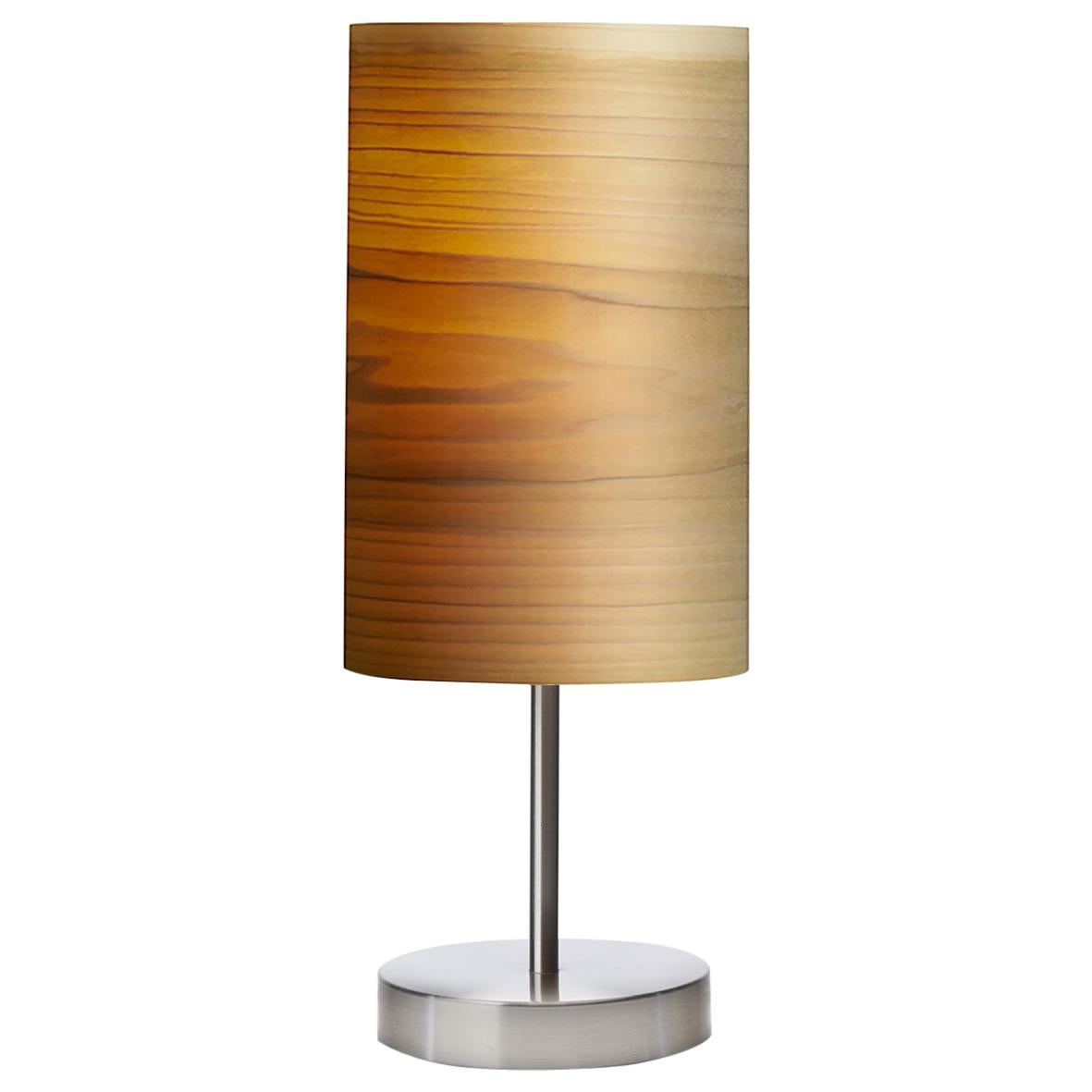 SERRET Brushed Stain Nickel Table Lamp With Poplar Wood Shade For Sale