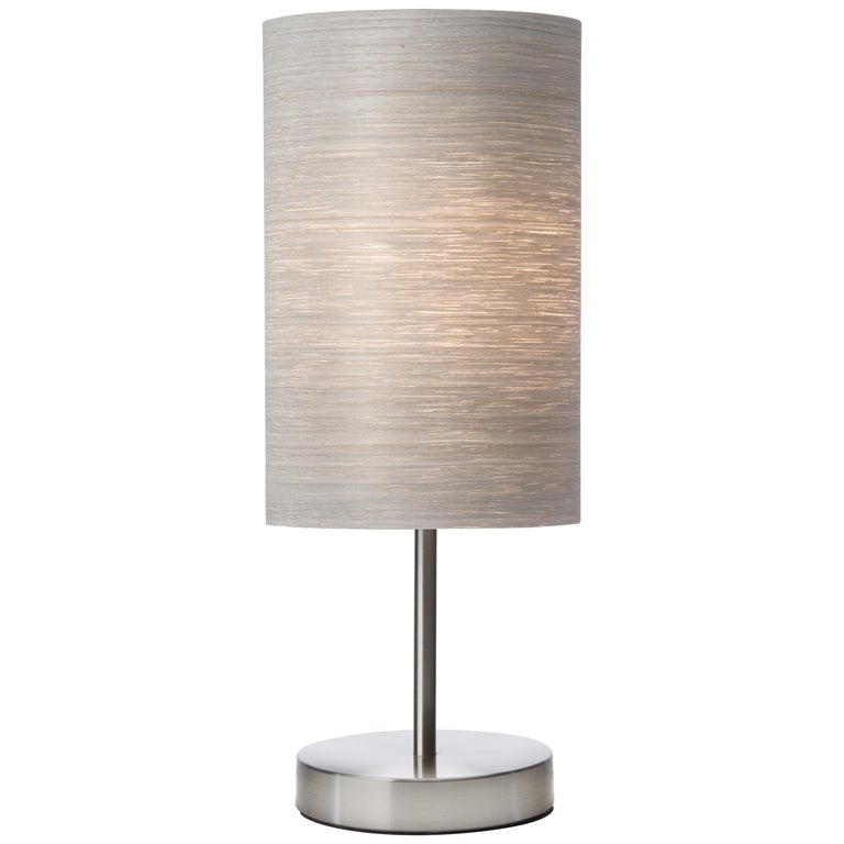 SERRET Table Lamp Gray Tay Wood Shade and Brushed Satin Nickle Stand For Sale