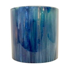 Serrurier-Bovy Blue Enameled Earthenware Cylinder Vase, 1905, Belgium