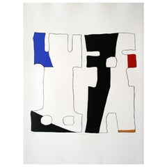 """Sertwiswabu"" Original Bauhaus Artist Linocut Print, Signed Werner Graeff"
