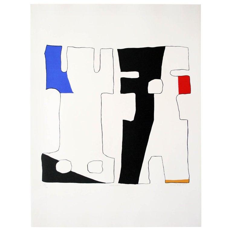 """SERTWISWABU"" Original Bauhaus Artist Linocut Print, Signed Werner Graeff For Sale"