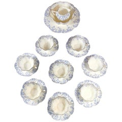 Service 8 English Coffee-Tea Cups with Plate Staffordshire Porcelain