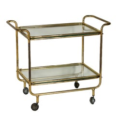 Service Cart Brass Glass Vintage Manufactured in Italy 1960s