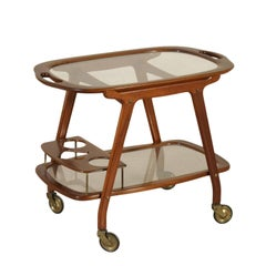 Service Cart Mahogany Glass Vintage Manufactured in Italy, 1950s