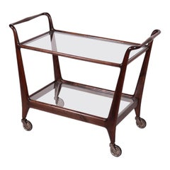 Service Cart Walnut Stained Beech Glass, Italy, 1950s
