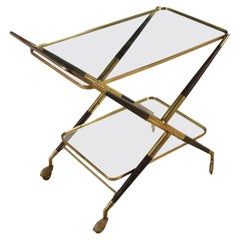 Service Cart Wood Brass Glass Vintage Manufactured in Italy, 1950s