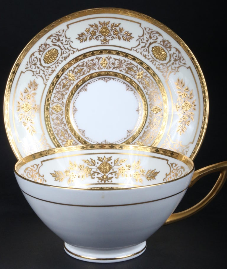Service for 12 of Minton for Tiffany Ivory Gilded Plates For Sale 2