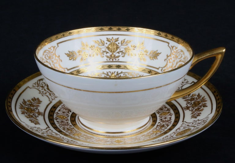Service for 12 of Minton for Tiffany Ivory Gilded Plates For Sale 3