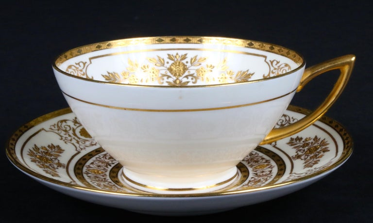 Service for 12 of Minton for Tiffany Ivory Gilded Plates For Sale 4