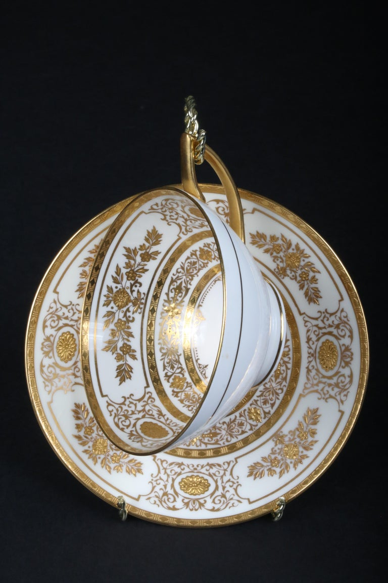 Service for 12 of Minton for Tiffany Ivory Gilded Plates For Sale 5