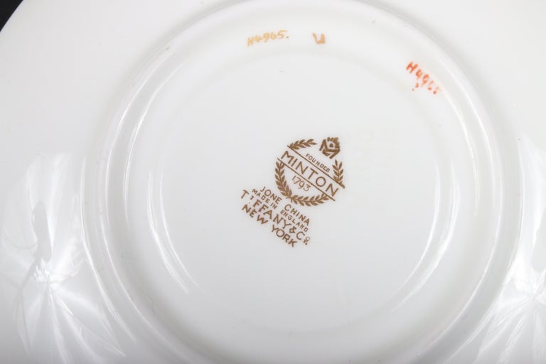 Service for 12 of Minton for Tiffany Ivory Gilded Plates For Sale 6