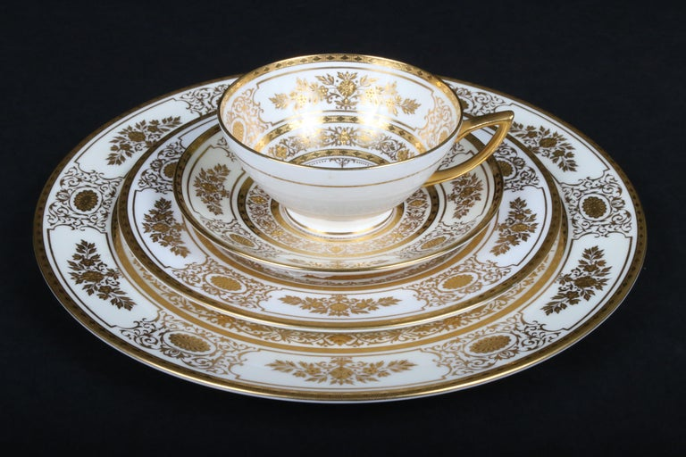 Neoclassical Service for 12 of Minton for Tiffany Ivory Gilded Plates For Sale