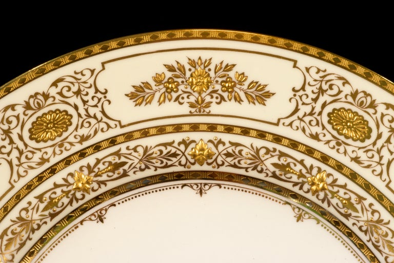 Mid-20th Century Service for 12 of Minton for Tiffany Ivory Gilded Plates For Sale