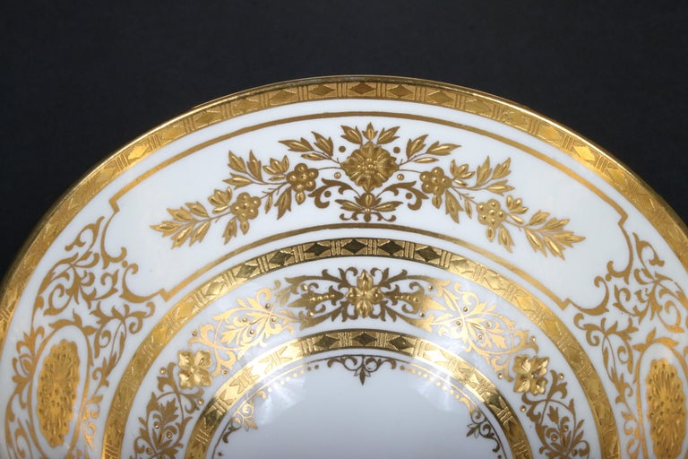 Gold Leaf Service for 12 of Minton for Tiffany Ivory Gilded Plates For Sale