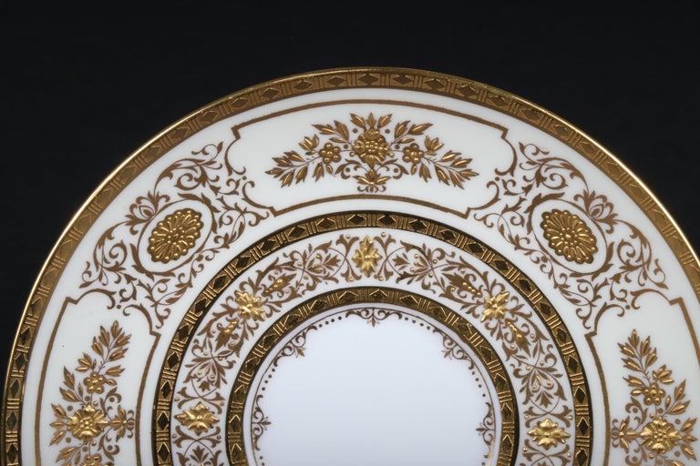 Service for 12 of Minton for Tiffany Ivory Gilded Plates For Sale 1