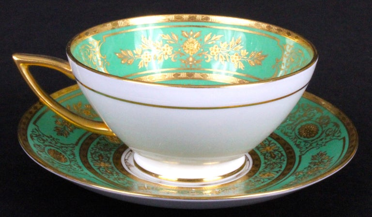 Service for 18 of Minton for Tiffany, Green and Gold For Sale 2