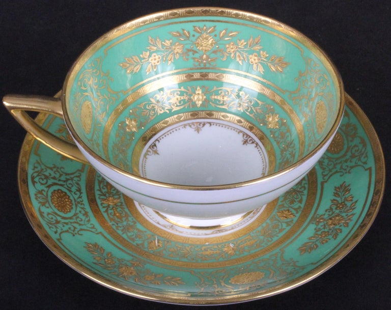 Service for 18 of Minton for Tiffany, Green and Gold For Sale 3
