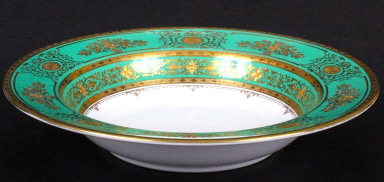 Service for 18 of Minton for Tiffany, Green and Gold For Sale 4