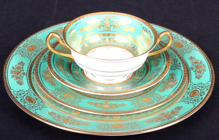 Neoclassical Service for 18 of Minton for Tiffany, Green and Gold For Sale